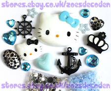 3D DIY Cell Phone Case blue  Kawaii Hello Kitty anchor cabochon Deco Den Kit