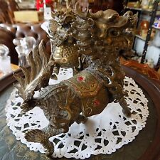 Antique Pair Excellent quality CHINESE BRASS FOO Lion  DOGS