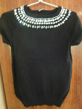 Excellent TARGET black knitted short sleeve top with heavily beaded neckline (S)