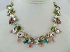 Betsey Johnson Gold-Tone  multi color Crystal   Choker Necklace