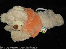 Doudou boite à musique Ours couché pull capuche orange Nicotoy Simba Toys 26 cm