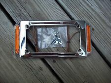 Chrome License Plate Frame w/Turn Signals Marker Running Lights Harley Davidson
