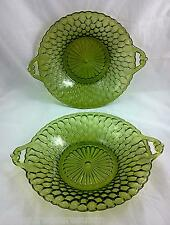 Indiana Honeycomb Pattern Avocado Green Plates with Handles set of 2