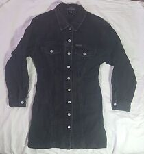 Vintage GUESS By Georges Marciano Black Denim Dress Size XL Made In USA
