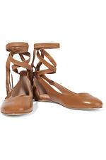 Sigerson Morrison Lace Up Leather Flat, Size 9