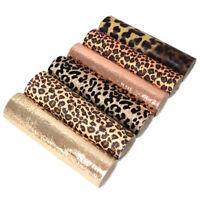 6Pcs Leopard Printed Glitter Solid Color Metal Explosion Crack Faux Leather Set