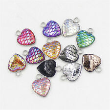 10pc Heart Shaped Resin Metal Mermaid Fish Scale Charm Pendant Jewelry Gift 12mm
