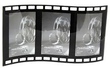 Celluloid Movie Photographic Film Roll Curved Triple Picture Photo Frame 4 x 6