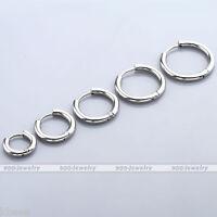 Men Women Silver Stainless Steel Tube Hoop Huggie Ear Helix Sleeper Stud Earring