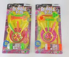 2 PACK LOT BUBBLE FUN WAND KITS ASSORTED STYLE WANDS BUBBLE LIQUID TRAY
