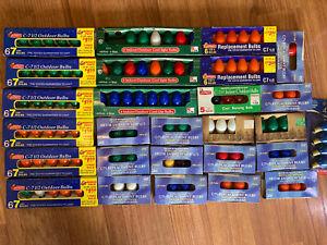 125+ VINTAGE BOXED C7 & C7 1/2 Christmas Tree Lights Bulbs MULTI COLOR LAMPS