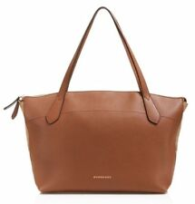 Burberry Welburn Derby House Check Leather Tote Medium in Tan NEW Authentic