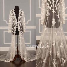 White&Ivory Bridal Wrap Lace Jackets Long Sleeves  Shawl Bolero Wedding 2017 New
