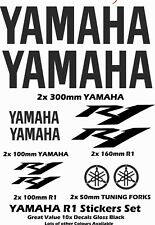 Yamaha R1 Sticker Set 10x Vinyl Logo Stickers Gloss Black + Many other Colours