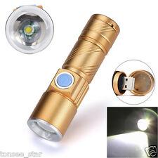 2000lm Q5 LED Taschenlampe Licht USB Wiederaufladbare Zoomable Taschenlampe Neu