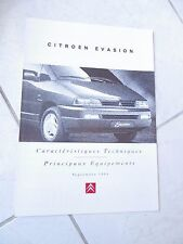 Citroen Evasión características 1995 ventas folleto prospekt catálogo