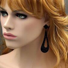 Black Alloy Jet Crystal Rhinestone Drop Dangle Earrings 00853 New