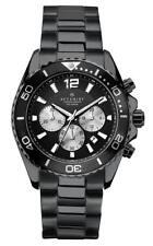 ACCURIST MENS BLACK CHRONOGRAPH DIAL BLACK PLATED BRACELET WATCH -RRP:£199-7205