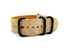 HNS ZULU 18/20/22 Handmade Rough Style Light Tan Calf Leather Watch Strap 4 Ring