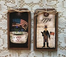 *New* 5 Handcrafted Wooden Retro Americana HangTags/Patriotic Ornaments Setq6