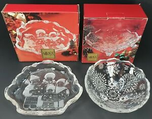 Mikasa Glass Christmas Carolers Sweet Candy Dish + Mikasa Snowflake Footed Bowl