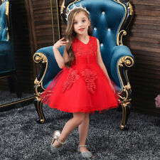Floral Kids Girls Dresses Sleeveless Princess Gown Birthday Party Wedding Dress