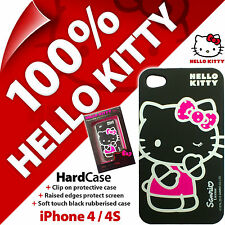 Neuf Hello Kitty Coque pour Apple IPHONE 4/4S Noir Fin Housse de Protection