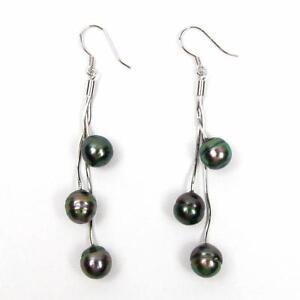 8-9mm Tahitian Black Pearl 925 Sterling Silver Triple Dangle Hook Earrings