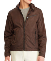 $1,495 Ralph Lauren Purple Label Brown Hooded Russo Leather Trim Tech Jacket NWT
