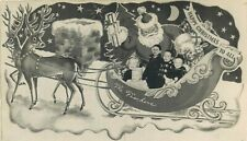 Santa Claus Christmas Greeting Studio Family In Sled Real Photo