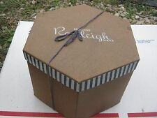 Vintage ?? Exclusively Ranleigh Hats Brown Gold Blue Stripes ? Hat Empty Hat Box