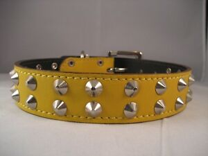 LEATHER TWO ROW STUDDED  DOG COLLAR