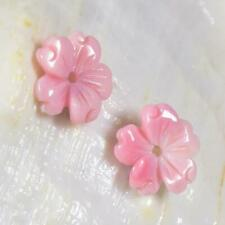 Beautiful Pink Queen Conch Shell Primula Flower Carving Earring Pair 0.74 g