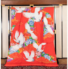 Japanese Kimono Robe Dress Cardigan Jacket Flapping Crane Uchikake