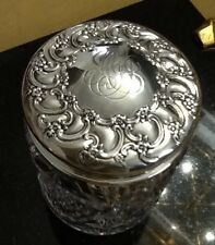 """Tiffany & Co. Sterling Silver And Crystal Covered Jar 5"""" Tall w/monogram"""