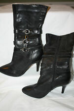 B Bakers Black Leather Boots Heels Straps Mid Calf  Size 7M