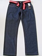South Pole Jeans Mens Size 34/30 Loose Straight Belted Red Dark Blue Wash Casual