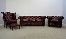 Chesterfield 4-Piece Suite In Antique Oxblood Red Genuine Leather (Brand New)