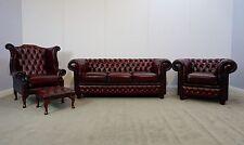 Chesterfield 4 PEZZI Suite in Antico Cromato Rosso Vera Pelle (Nuovo Di Zecca)
