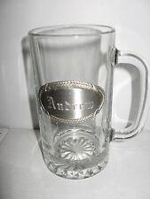 Heavy Glass Beer BEVERAGE Stein engraved Pewter Name plate ANDREW ROOT BEER