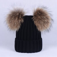 Women Girls Winter Fur Pom Knitted Beanie Hats with Real Raccoon Fur Pom Pom Cap