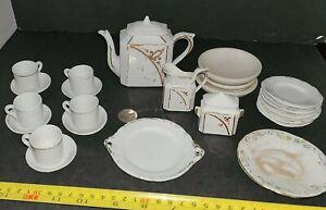 Vintage lot 25 Pieces White Ivory Bisque Porcelain Dollhouse Miniature Tea Set