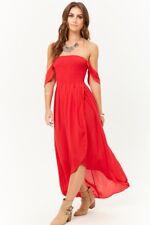 7f1bd99900 Sexy Debajo del Hombro alta baja Maxi vestido rojo