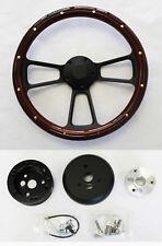 "67 68 Pontiac GTO Firebird Steering Wheel Mahogany Wood Grip on Black Spokes 14"""