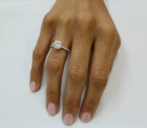 DIAMOND ENGAGEMENT RING 3.24 CARAT F SI1 ROUND SOLITAIRE ACCENTS 14K WHITE GOLD
