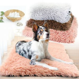 Warm Dog Beds Plush Padded Dog Sleep Mat Large Pet Cushion for Kennel Crate S-XL