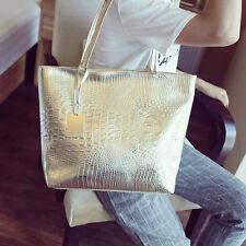 Large Metallic Gold Silver Black Tote Bags Crocodile Snakeskin Handbag Leather #