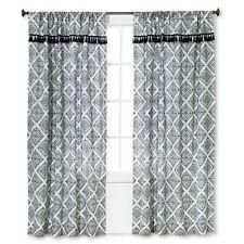Mudhut Masai Tassel Lined Curtain Panels (Pair)   Black / White