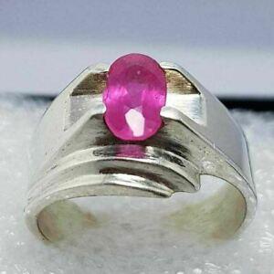 Natural Ruby Ring Burmese Ruby pinkish Ruby Ring Men's Ruby Rings Unheated Ruby