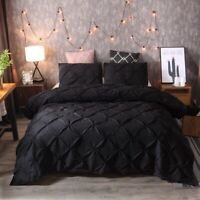 Black Pinch Pleat Duvet Cover for Comforter Bedding Set Twin/Queen/King Bed US